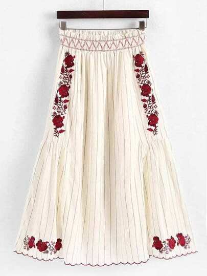 Frill Trim Pinstriped Embroidered Skirt