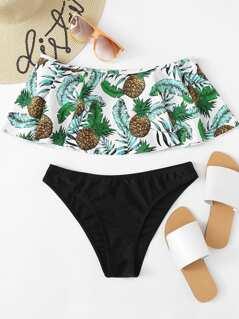 Tropical Print Flounce Bardot Top With High Leg Bikini