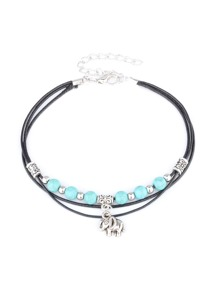 Turquoise Beaded Layered Anklet