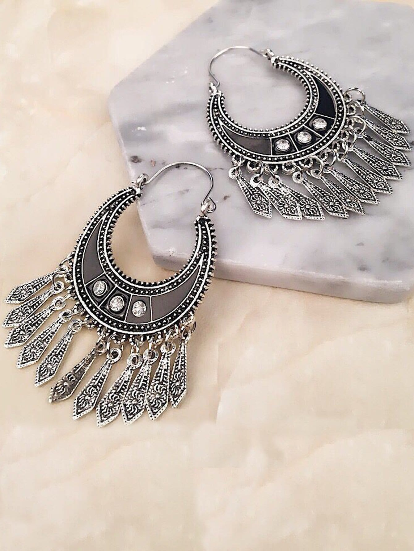 Fringe Drop Statement Earrings