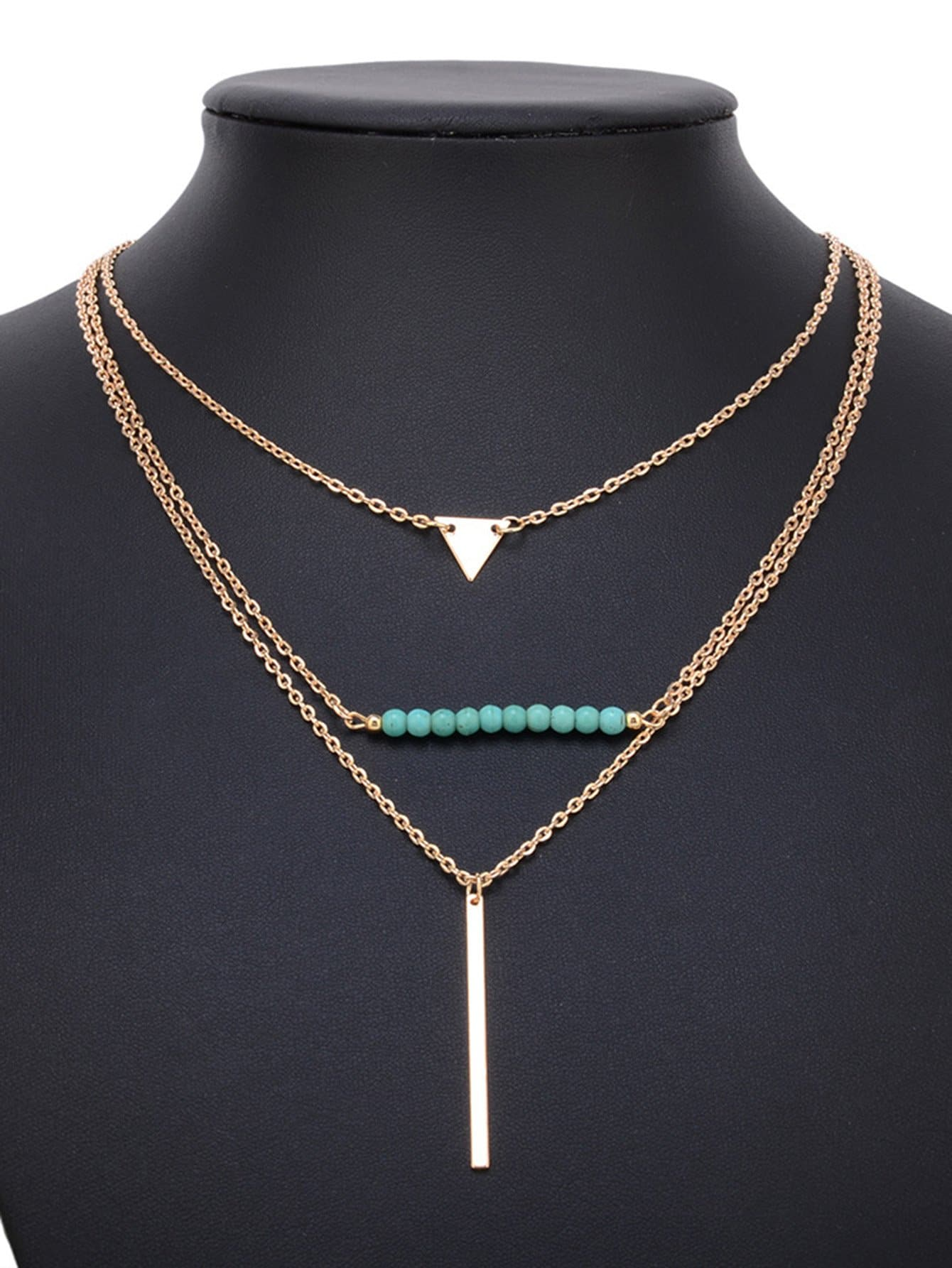 Bar Anhänger geschichteten Kette Halskette