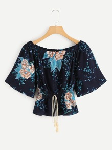 Off Shoulder Floral Print Drawstring Waist Top