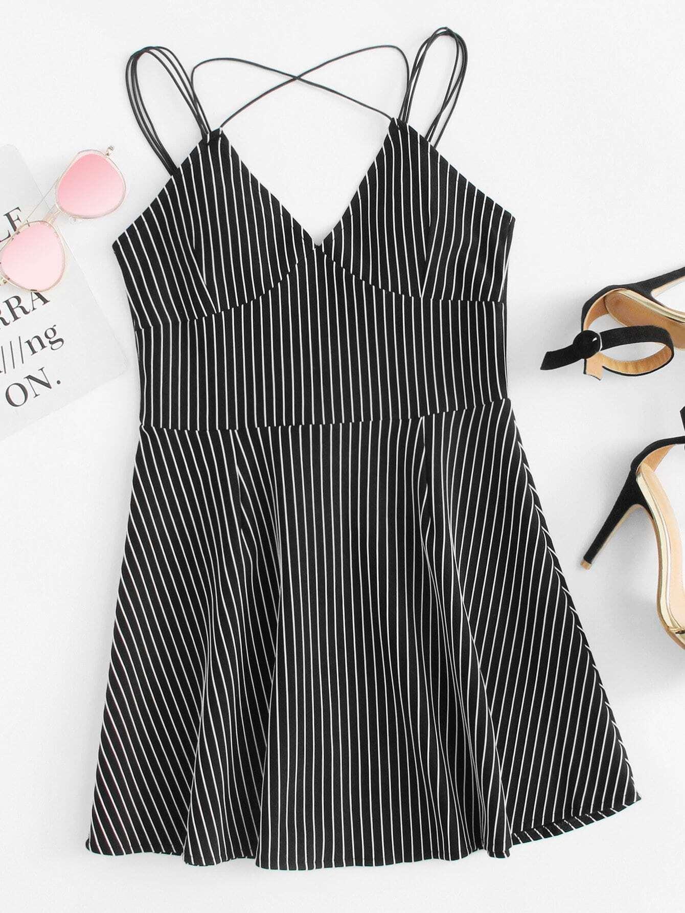 Criss Cross Back Striped Cami Dress