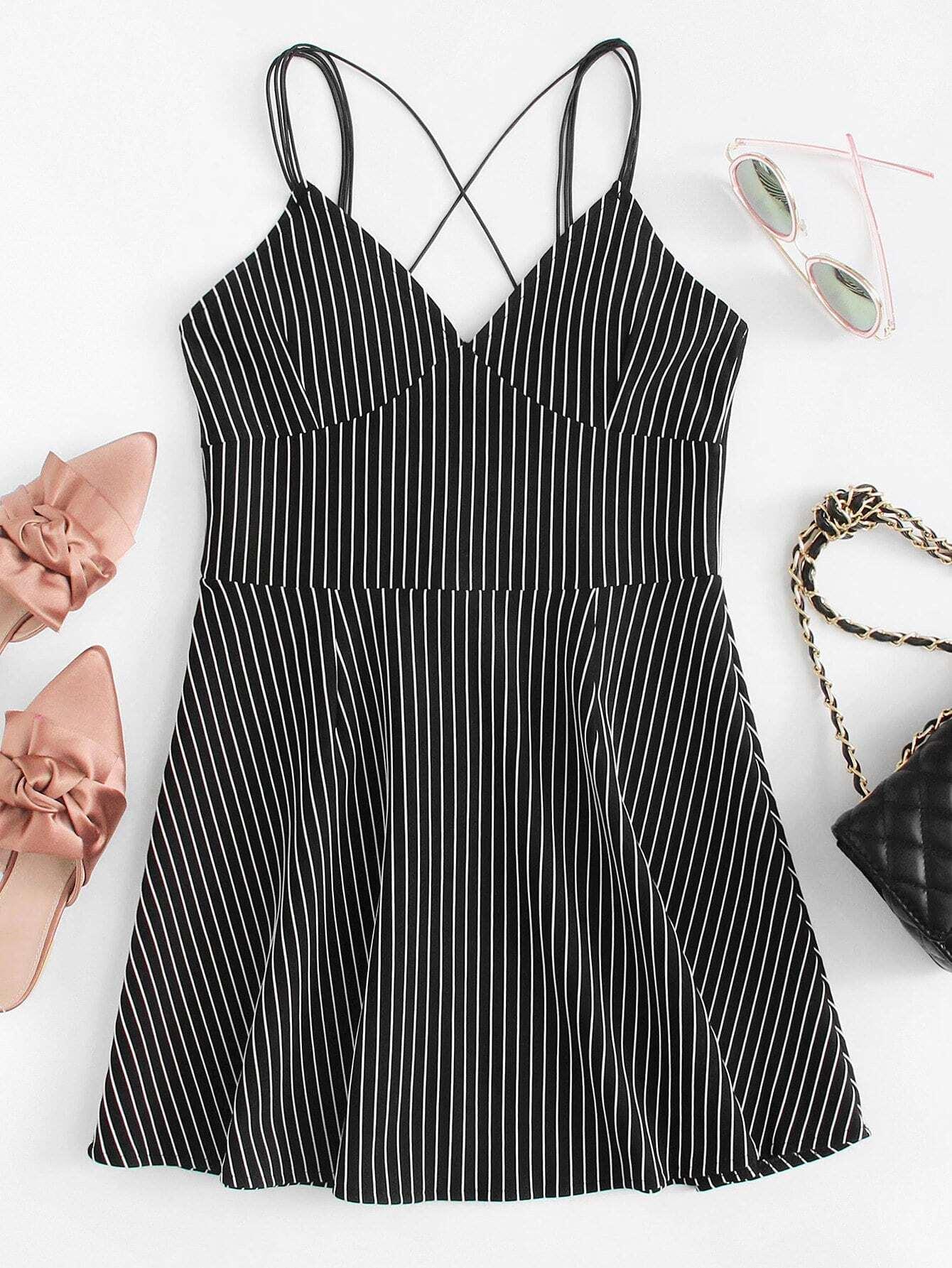 Criss Cross Back Striped Cami Dress rdre180406154