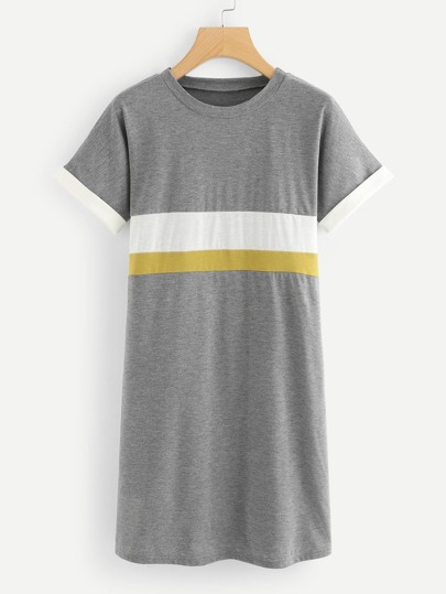 Striped Panel Tee Dress