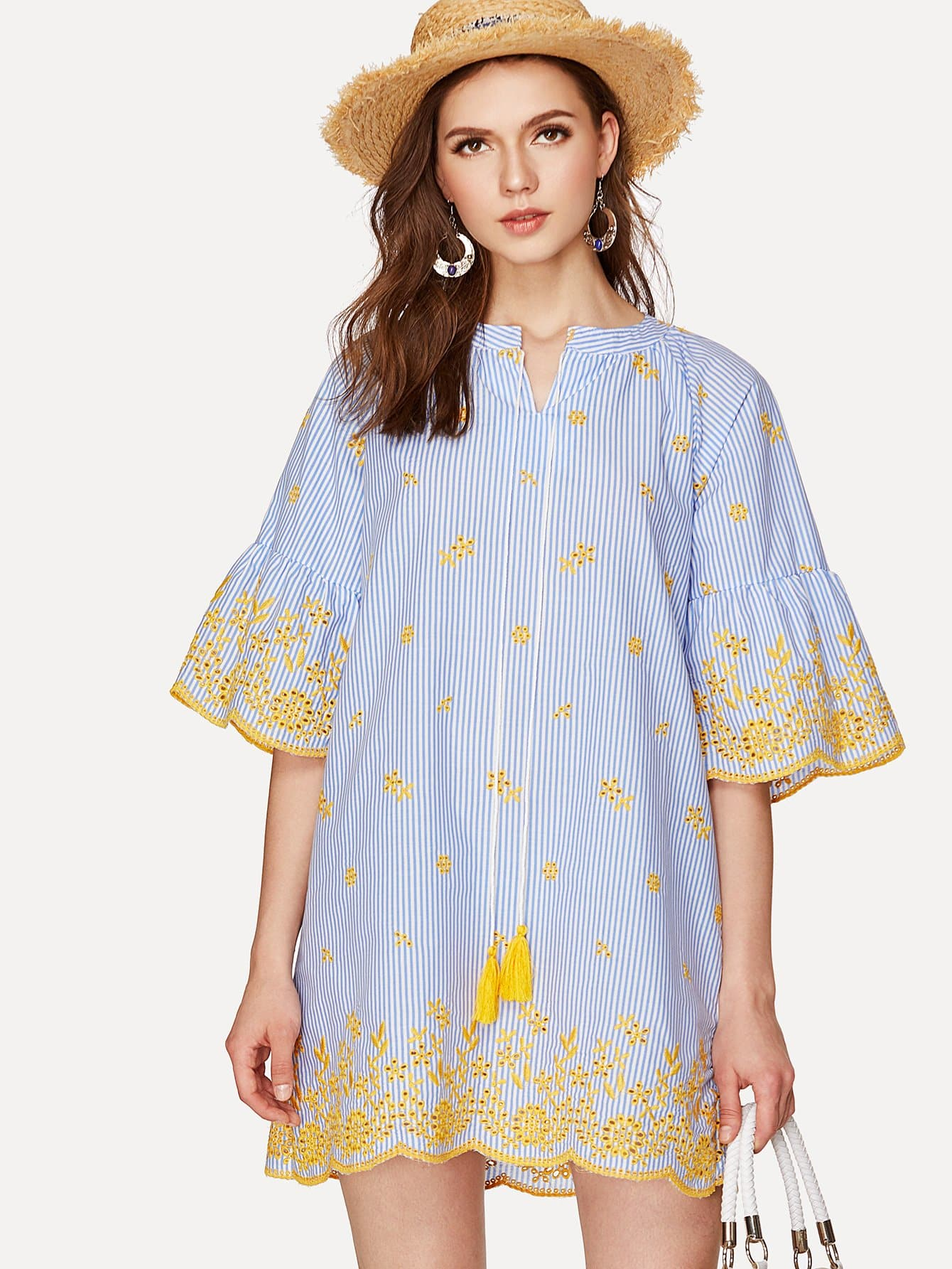 Fluted Sleeve Tie Neck Embroidered Dress v notch pearl leaf chain detail fluted sleeve dress
