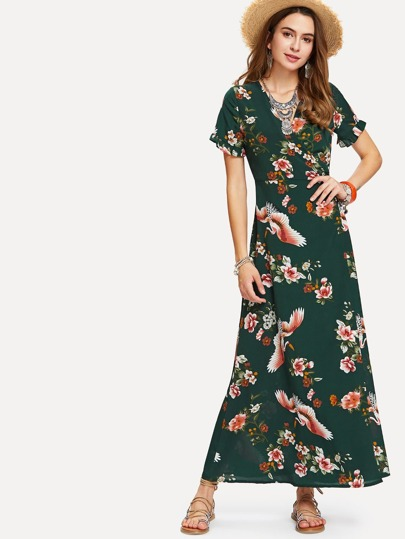 V Neckline Self Tie Waist Floral Print Dress