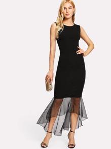 Sheer Mesh Panel Hem Bodycon Dress