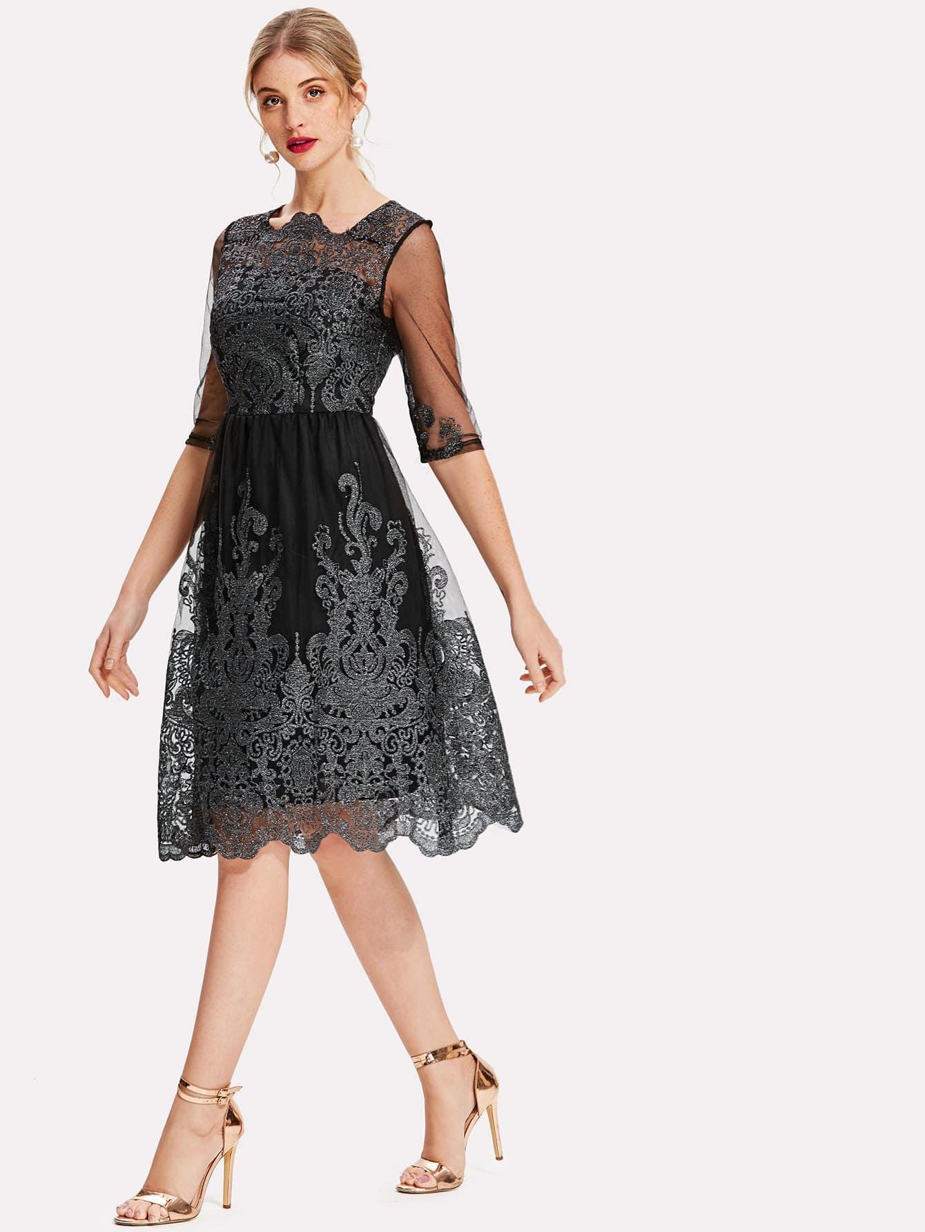 Sheer Mesh Panel Embroidered Dress skull print sheer mesh dress