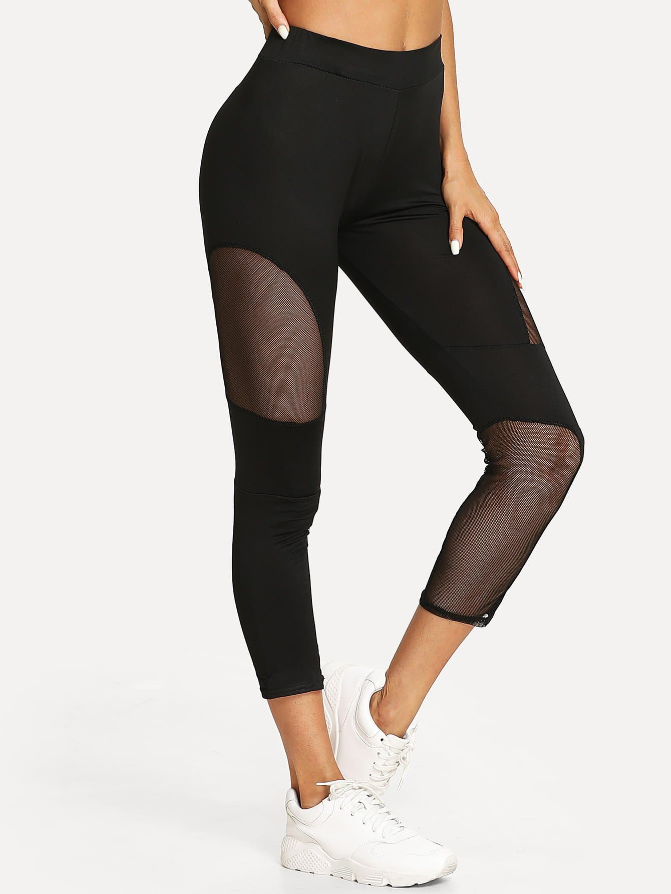 Sheer Mesh Panel Crop Leggings sheer plus size mesh panel workout leggings