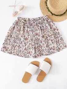 Chiffon Drawstring Waist Floral Print Shorts