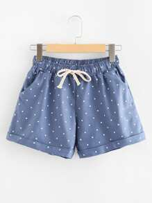 Drawstring Waist Polka Dot Shorts