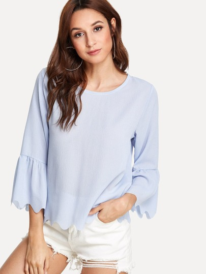 Fluted Sleeve Scallop Trim Tee