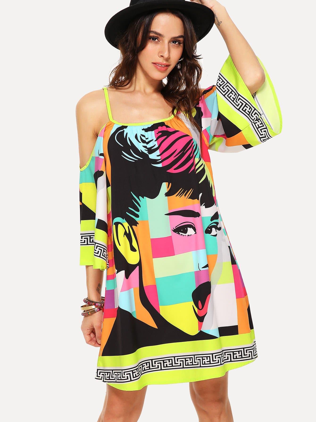 Купить Платье с принтом микс, Karla, SheIn