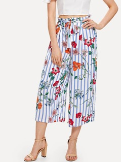 Self Belted Floral & Striped Culotte Pants