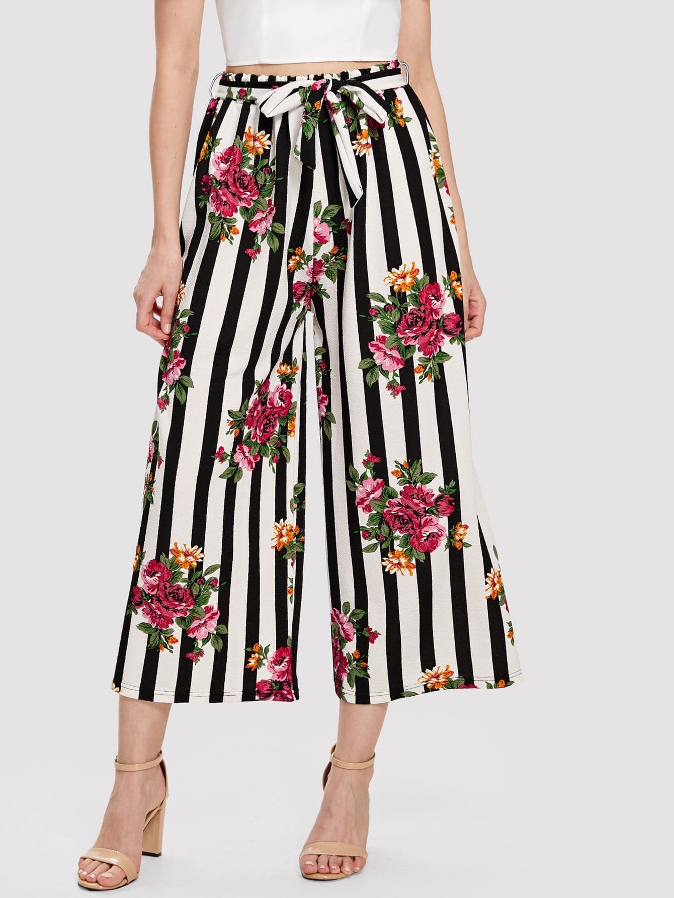 Self Belted Floral & Striped Palazzo Pants double keyhole belted palazzo jumpsuit