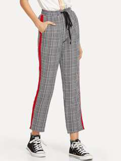 Contrast Tape Side Drawstring Waist Plaid Pants