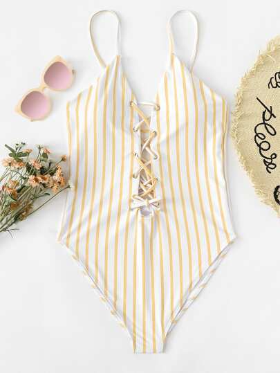 Lace Up Striped Swimsuit