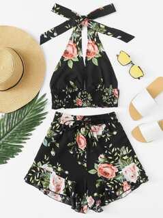 Shirred Detail Crop Floral Top & Ruffle Shorts Set