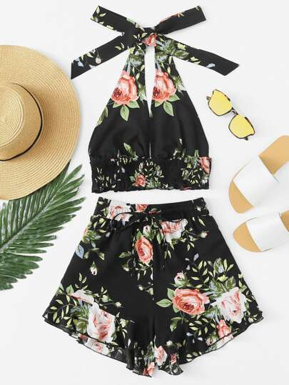 Shirred Detail Crop Floral Top & Ruffle Shorts Set