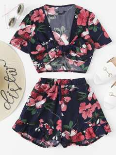 Knot Floral Top & Ruffle Hem Shorts Set