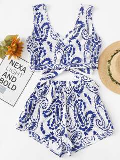 Crisscross V Neck Porcelain Print Top & Shorts Set