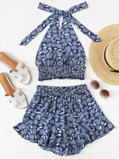 Shirred Hem Halter Top & Ruffle Shorts Set