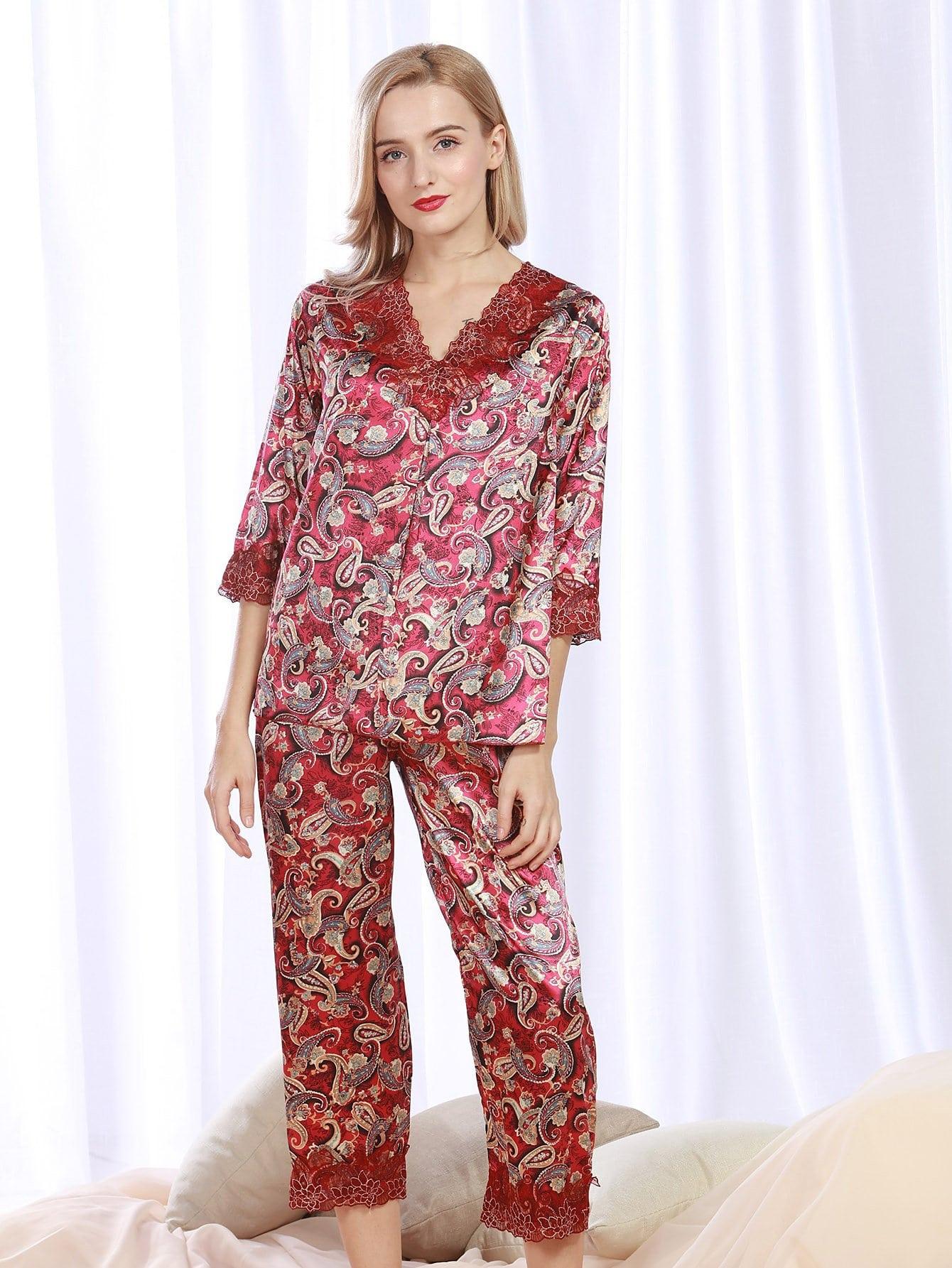 Lace Panel Paisley Print Pajama Set color block panel paisley print lace up shorts