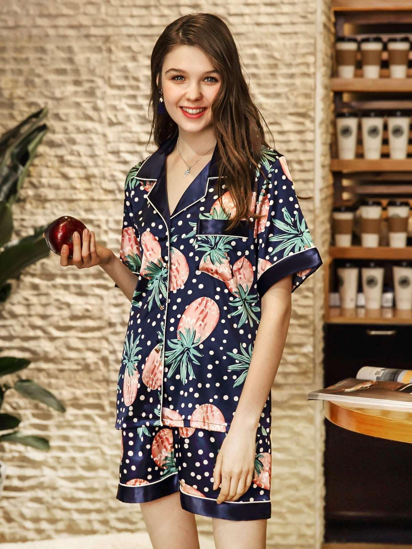 Contrast Binding Pineapple Print Pajama Set contrast binding embroidered long pajama set