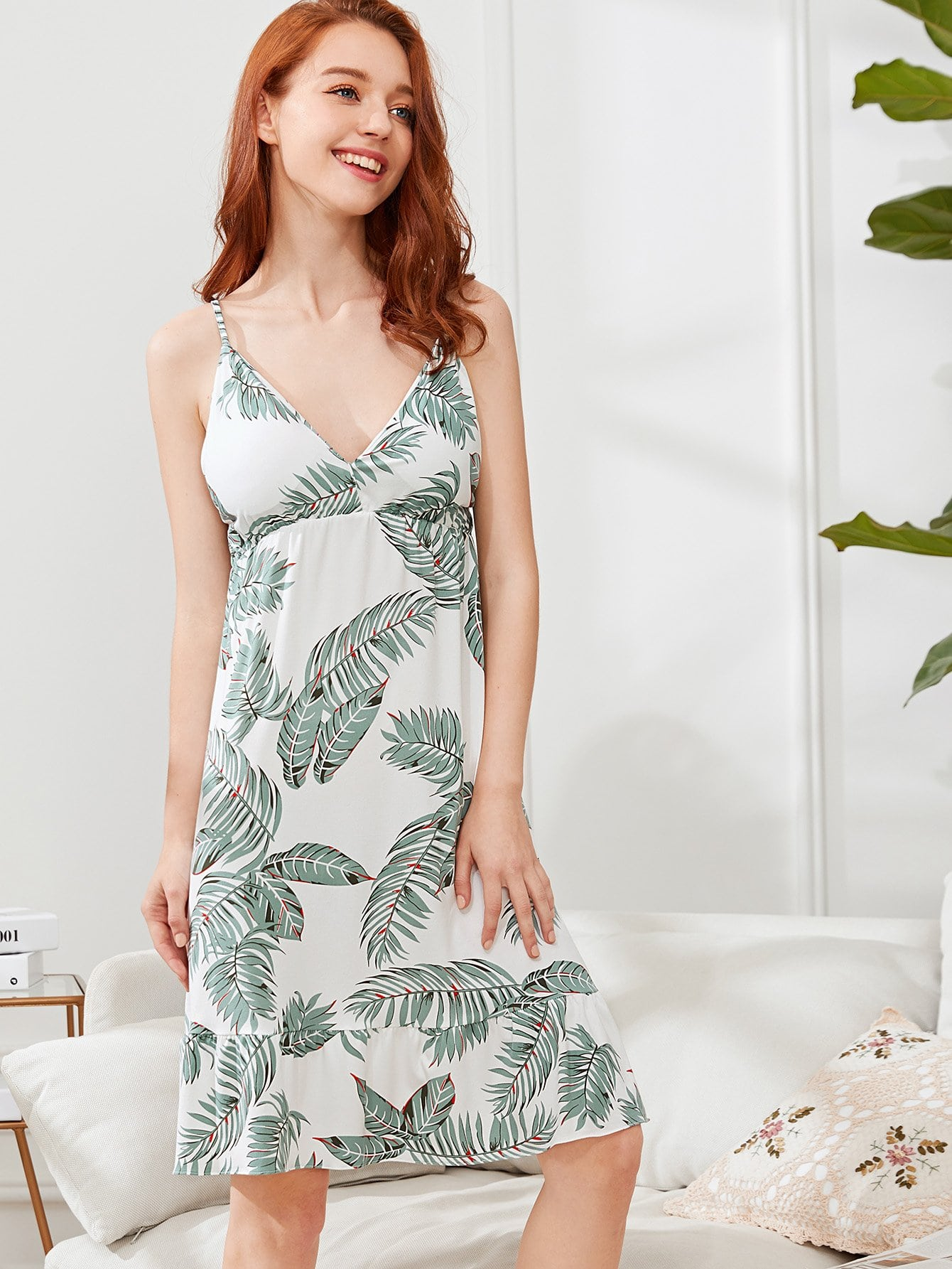 Tropical Print Cami Dress With Eye Mask tropical print cami with pants