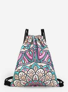 Tribal Print Drawstring Backpack