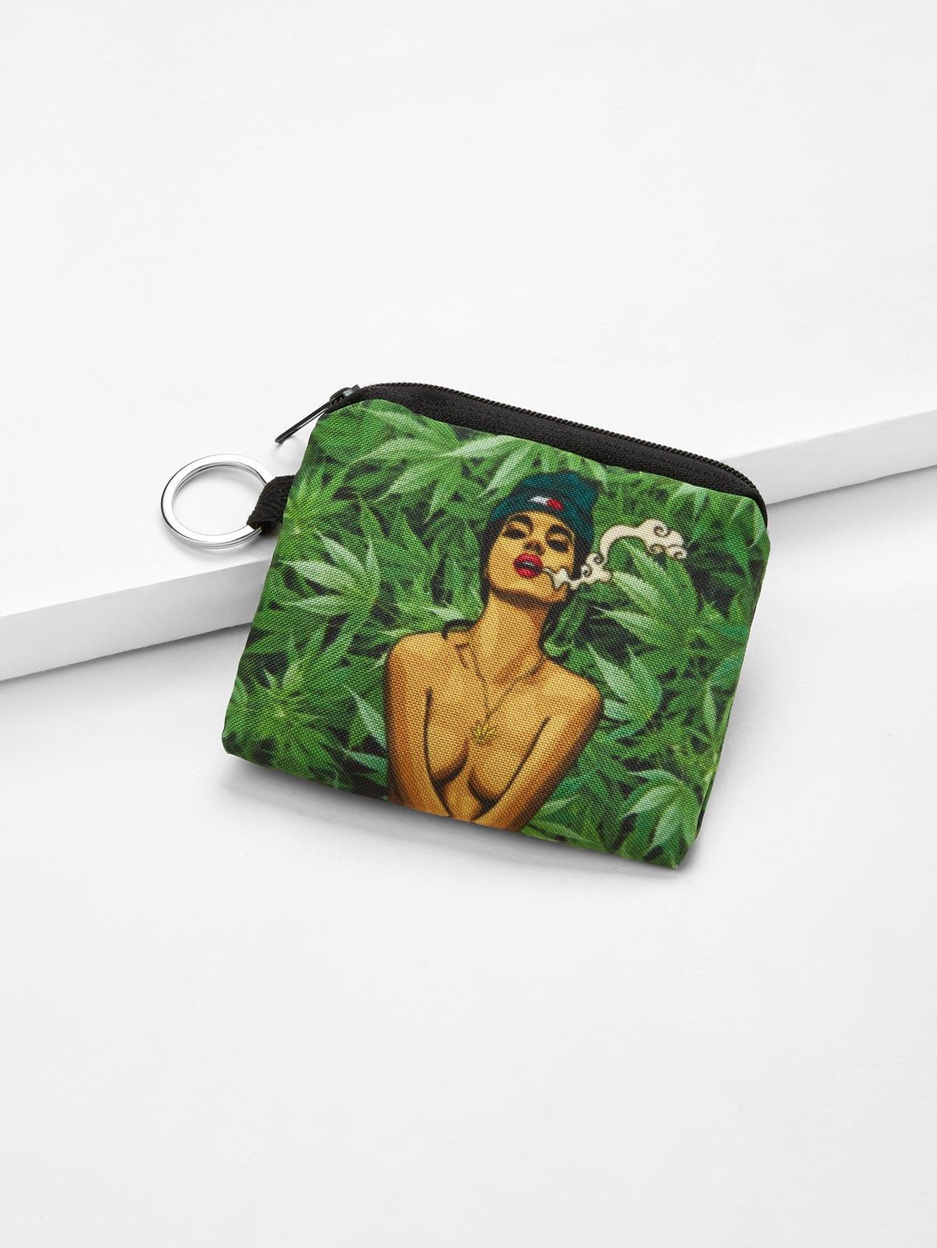 Figure Print Canvas Wallet bag180327328