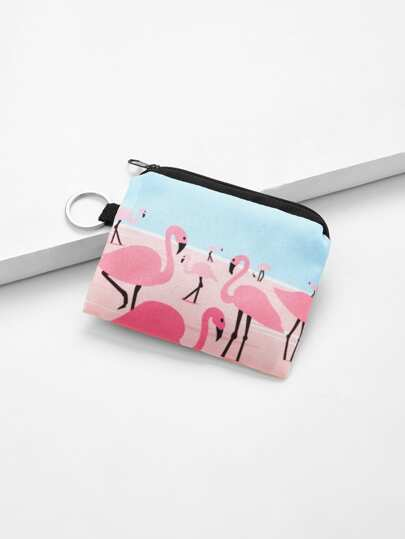 Flamingo Print Canvas Wallet
