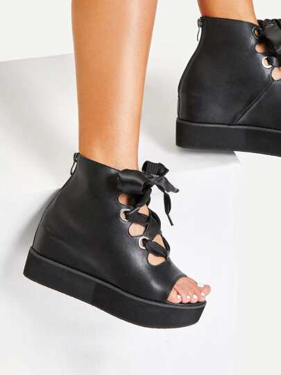 Criss Cross Bow Detail Platform Wedges