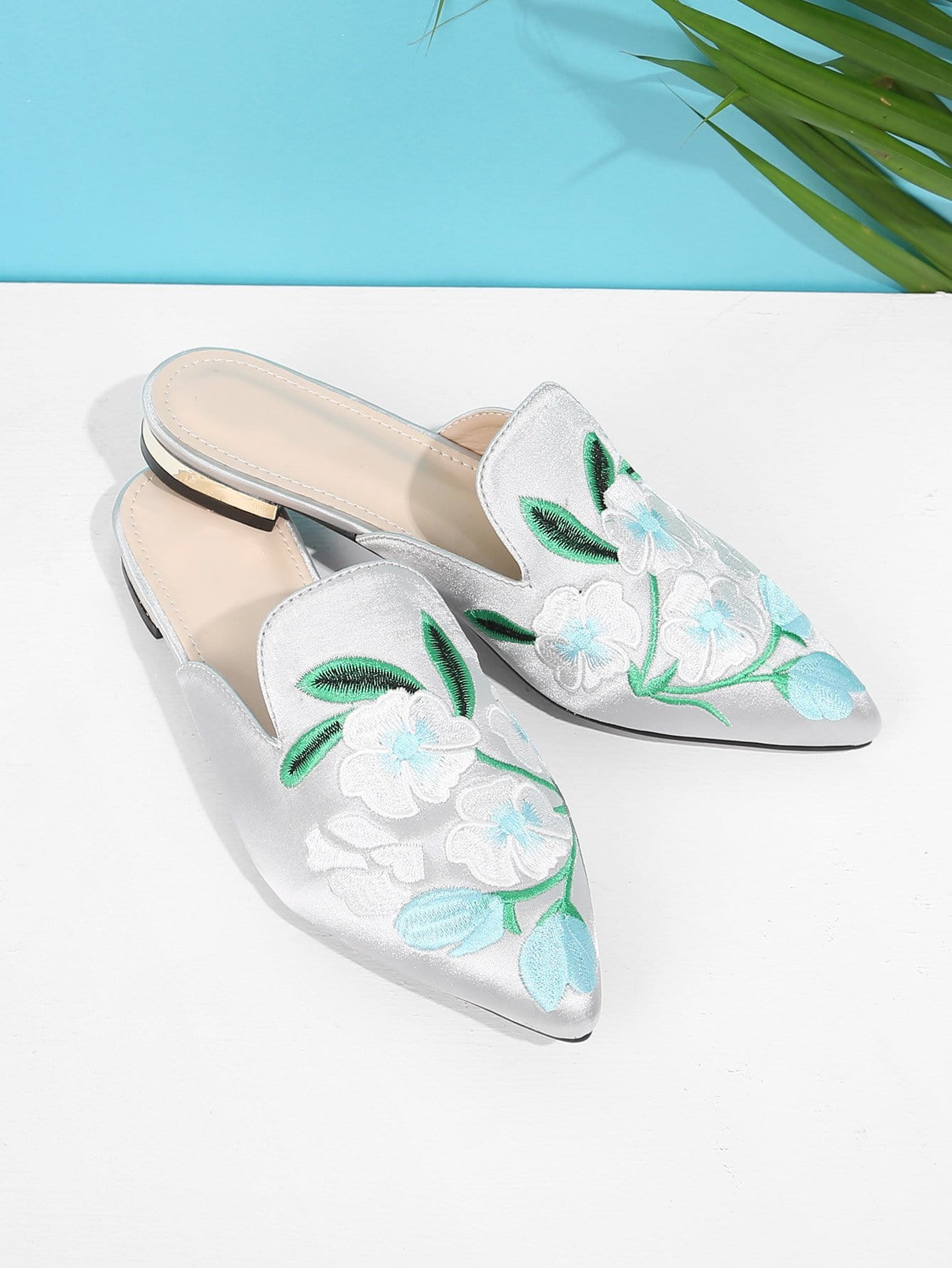 Floral Embroidered Flat Mules vintage women flats cloth shoes chinese wedding mary janes floral embroidered casual soft canvas dance ballet flat for woman