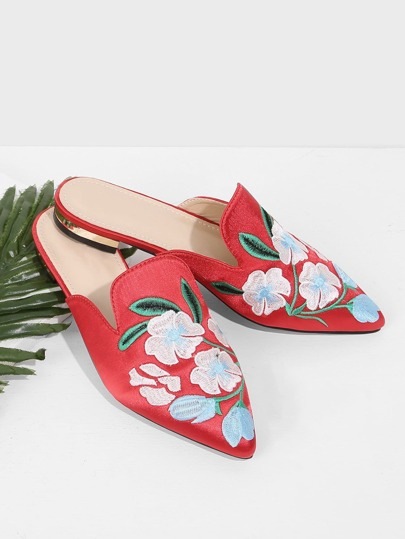 Floral Embroidered Flat Mules