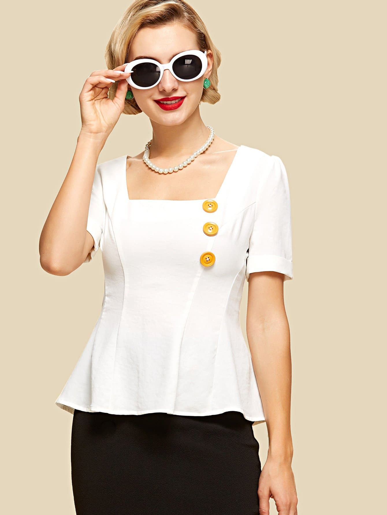 Button Embellished Square Neck Peplum Top button embellished fit