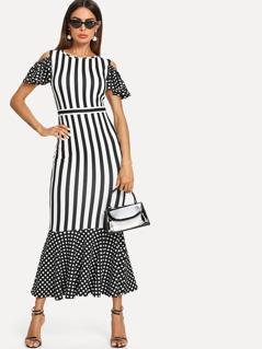 Two Tone Mixed Print Fishtail Dress