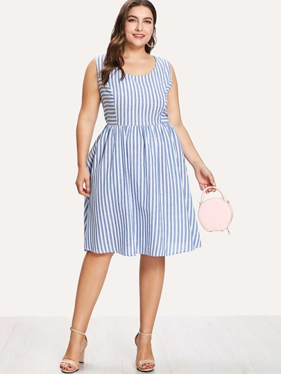 Mixed Striped Shell Dress