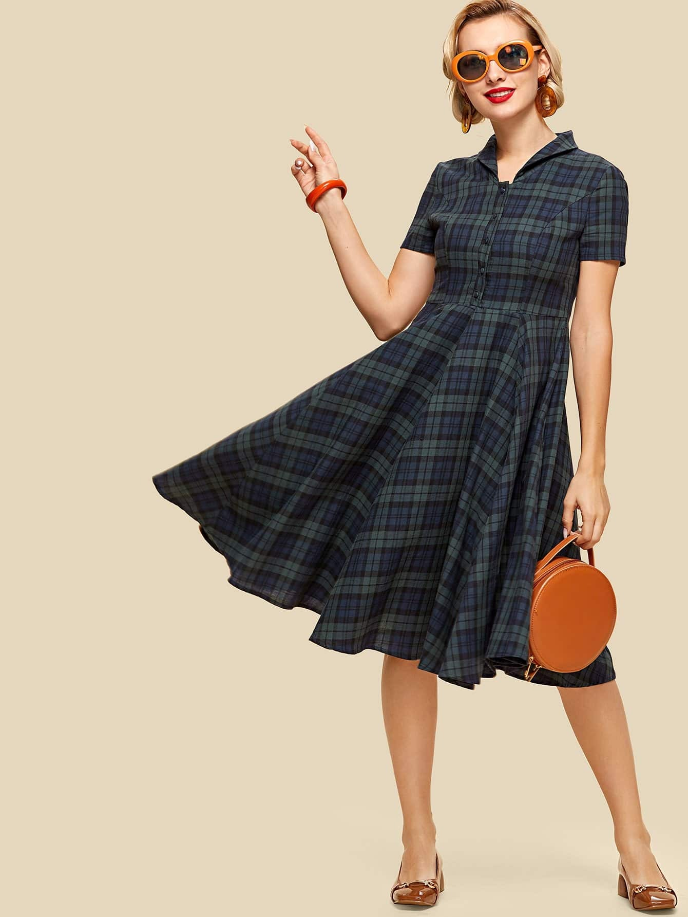 Button Half Placket Flared Hem Plaid Dress zip back fit and flared plaid dress