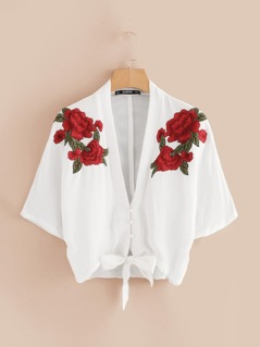 Floral Embroidered Applique Knot Front Kimono