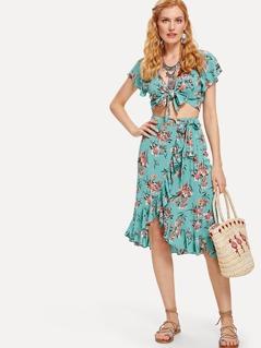 Knot Floral Top & Asymmetrical Ruffle Hem Skirt Set
