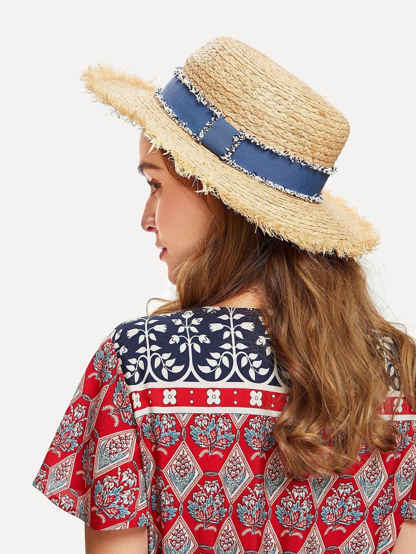 Raw Edge Straw Boater Hat