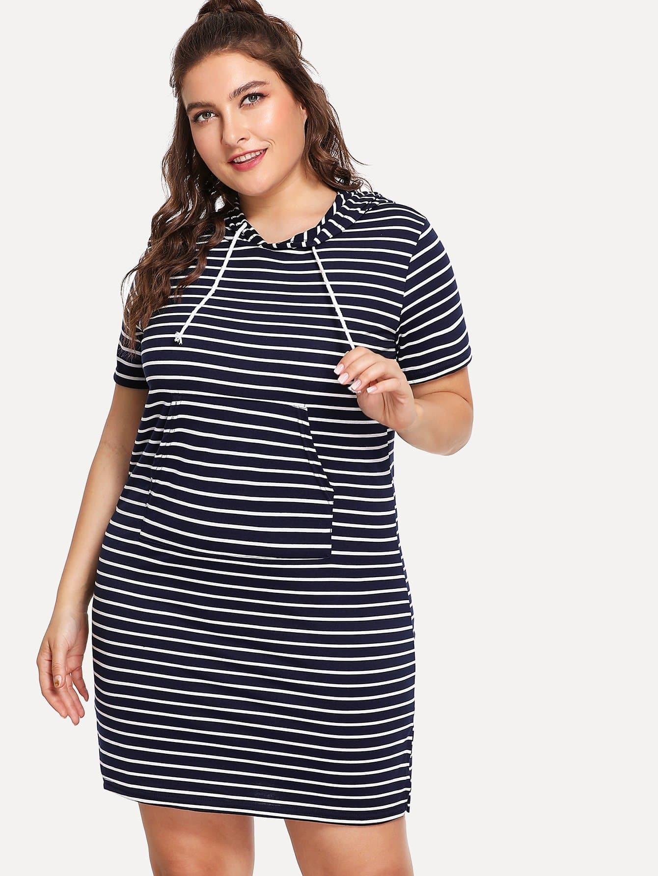 все цены на Plus Side Slit Striped Hooded Dress онлайн