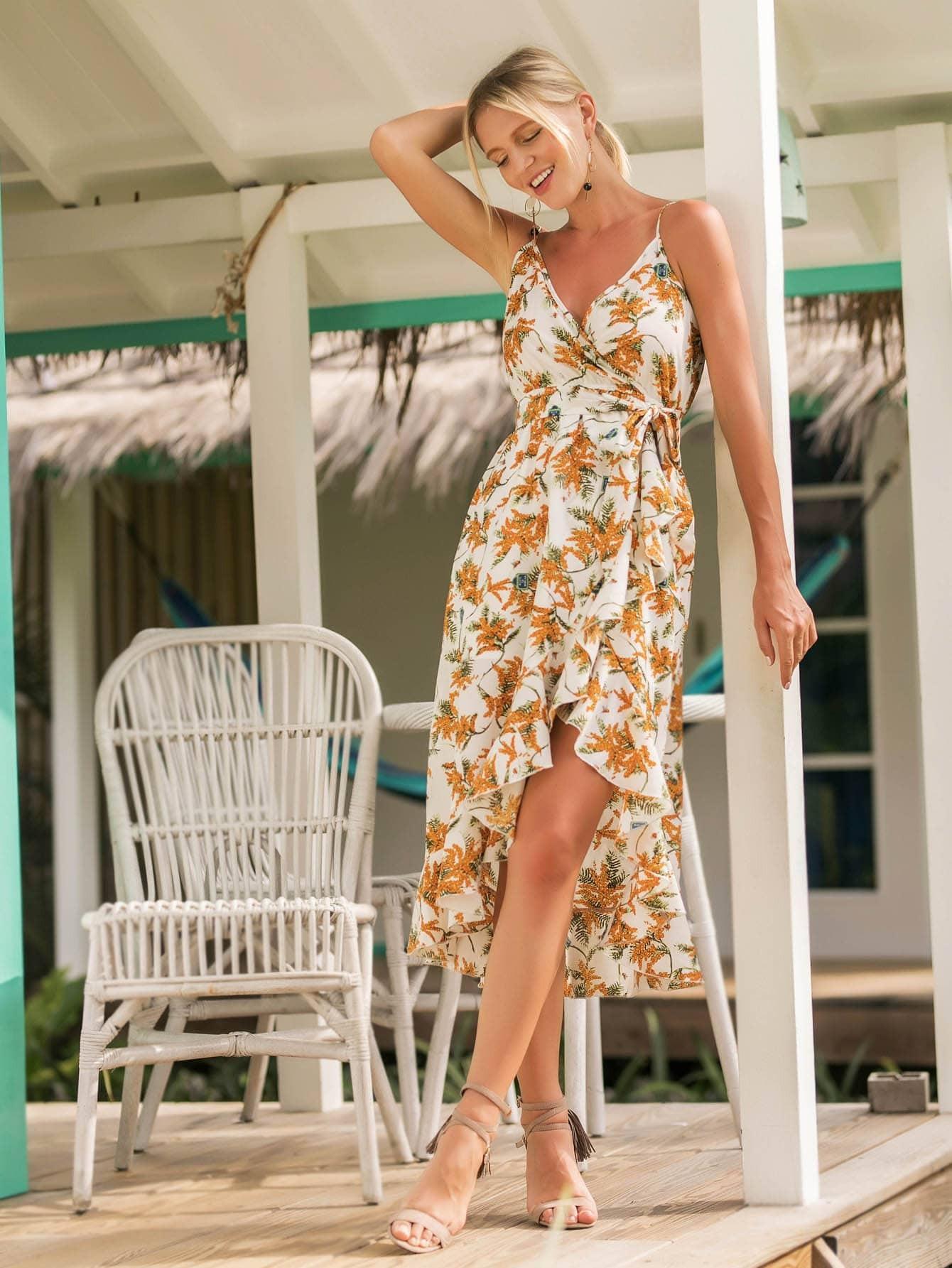 Tropical Print Ruffle Trim Cami Dress With Belt tied back ruffle hem tropical cami dress