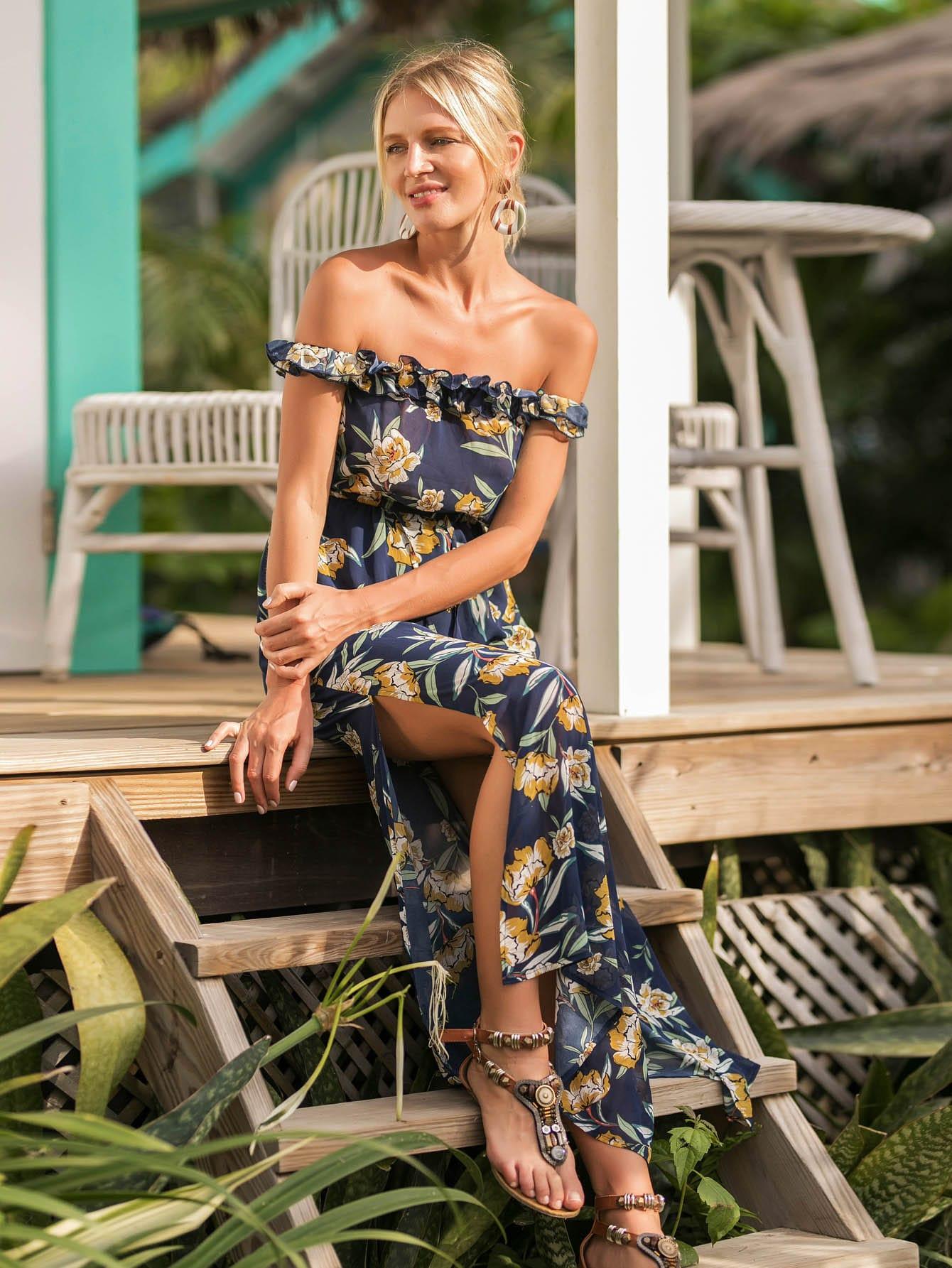все цены на Bardot Frill Trim Side Slit Botanical Dress