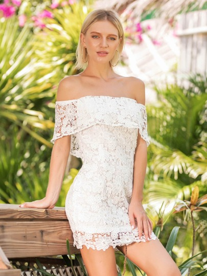 Foldover Lace Overlay Dress