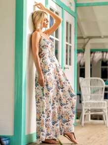 Lace Up Open Back Florals Dress