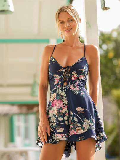 Lace Up Open Back Florals Cami Romper