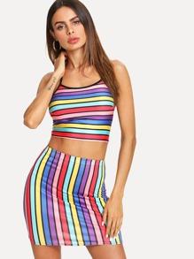 Multi-Stripe Crop Halter Top With Skirt